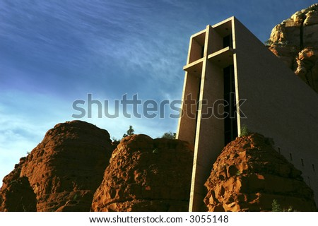 Chapel of the Holy Cross in Sedona, Arizona. Designed in 1956 by Marguerite Brunswig Staude, a pupil of Frank Lloyd Wright. - stock photo