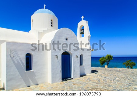 Chapel on a shore in Greece - stock photo