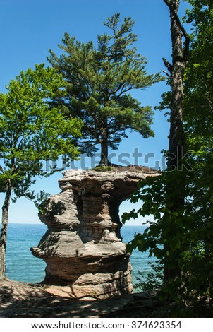 Chapel Rock  view from the coast, Pictured Rock National Lake Shore, Michigan, USA - stock photo