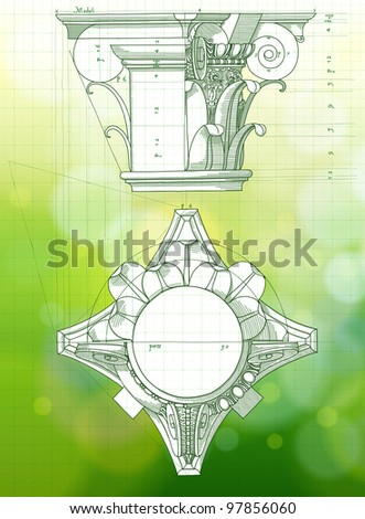 Chapiter - hand draw sketch composite architectural order & green bokeh background.  Bitmap copy my vector - stock photo