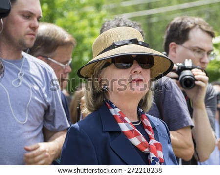 CHAPPAQUA, NY - MAY 26 -  Hillary Clinton attends the Memorial Day celebrations in her hometown of Chappaqua, New York on May 26, 2014.  Mrs. Clinton is running for President. - stock photo