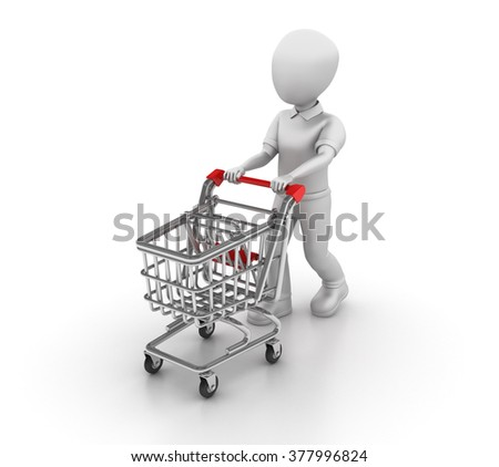 Character and Shopping Cart - High Quality 3D Render  - stock photo