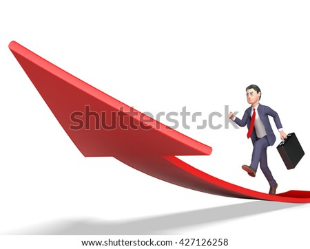 Character Businessman Meaning Arrow Sign And Progress 3d Rendering - stock photo