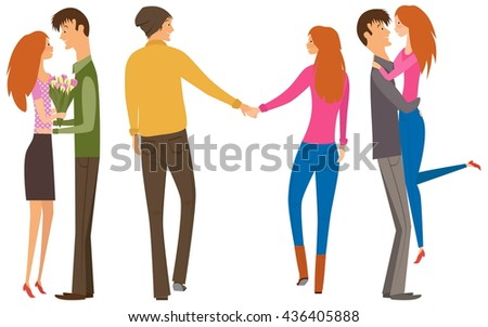Character couple set with flat design style. Couple of lovers collection, young men and young women set. Redhead women and brunet man. Happy couple collection.  - stock photo