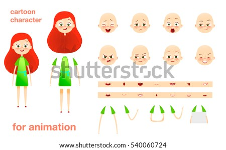 Character design for animation. Parts of body template elements. Kids face with emotions. Girl cartoon illustration. Isolated on white background. Set of mouth, hands.