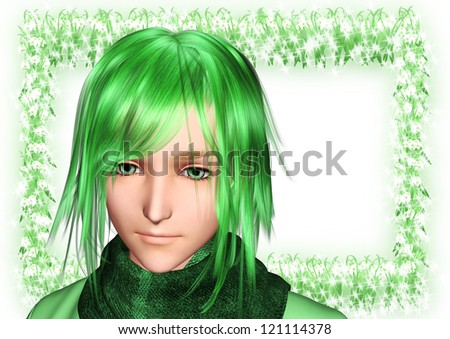 Character face, and message board of snowdrop - stock photo