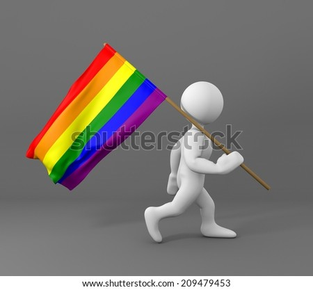character holding gay flag