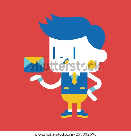 Character illustration design. Businessman sending letter cartoon