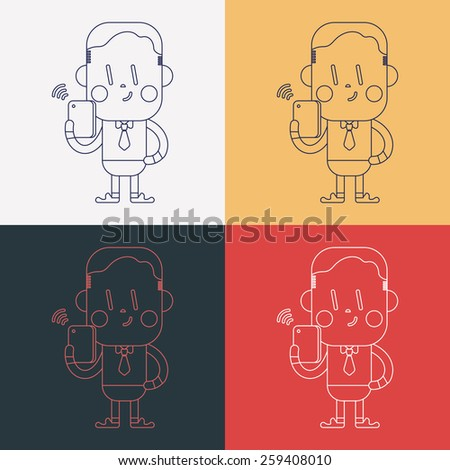 Character illustration design. Businessman using cell phone cartoon