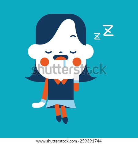 Character illustration design. Businesswoman dozing cartoon