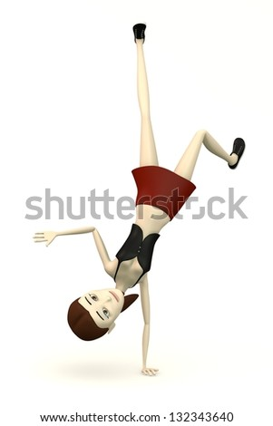 character in casual clothes - breakdance - stock photo