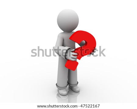 character is holding red question mark - stock photo