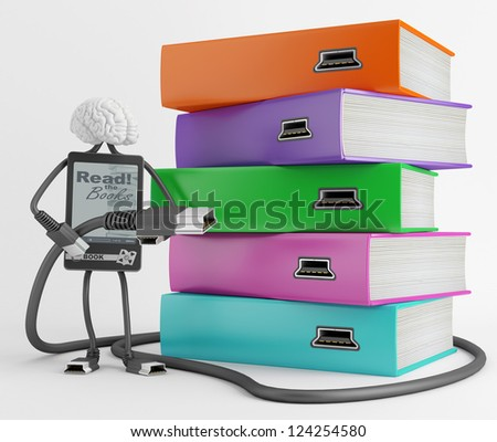 Character is ready to load content of books in e-book - stock photo