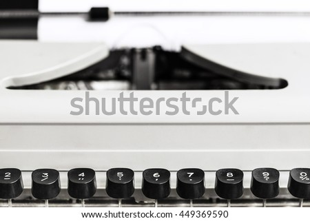 character keys of old typewriter close up - stock photo