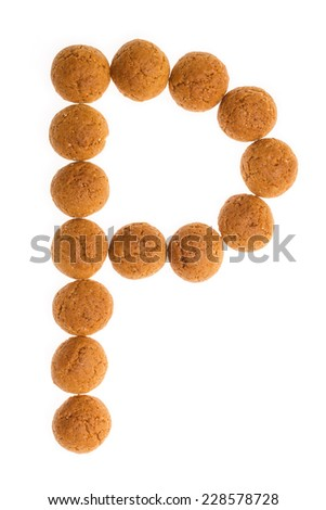 Character, letter P for Piet with pepernoten. A traditional dutch treat for Sinterklaas on 5 december. Cookies isolated on white background. - stock photo