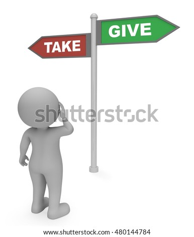Character Looking At Take Give Sign Means Offer Or Grab 3d Rendering