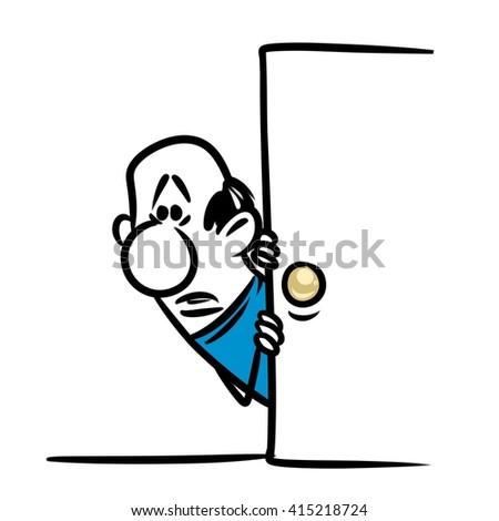 Character man frightened door cartoon illustration - stock photo
