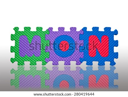 """character """"MON"""" as monday made from rubber - stock photo"""