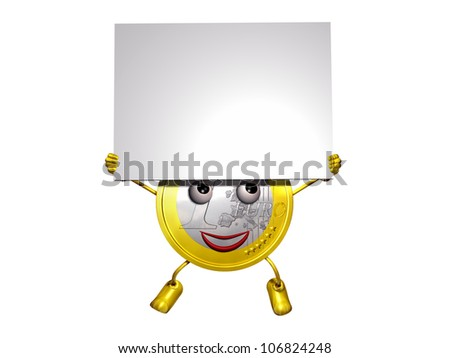Character of a Euro coin holding a information tablet