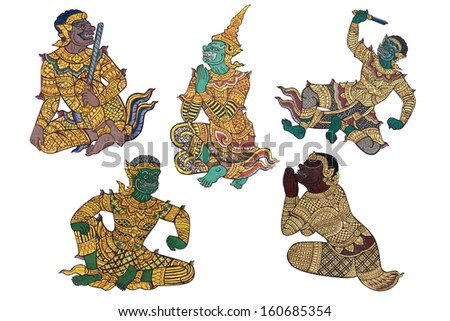 Character of Thai style Giant on mural painting, Bangkok, Thailand - stock photo