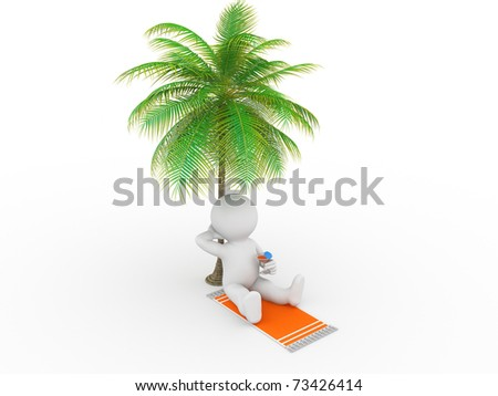 Character resting under a palm tree and drinking juice - stock photo