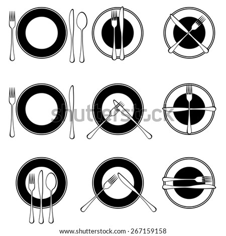 Character set cutlery in the restaurant.= - stock photo