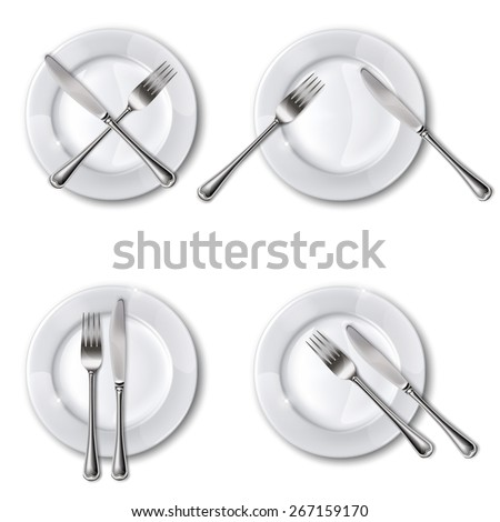 Character set cutlery in the restaurant. - stock photo