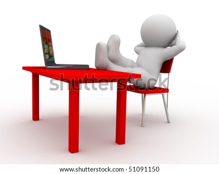 character siting at the table in rest pose - stock photo