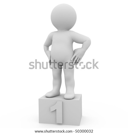 character standing in a victory pose on a box with first number - stock photo