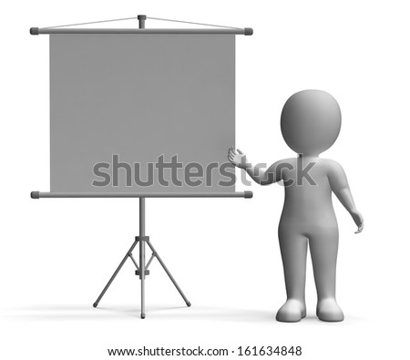 Character With Copyboard Blank Signboard Allows Message Or Advertising