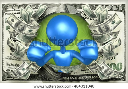 Character With Money 3D Illustration