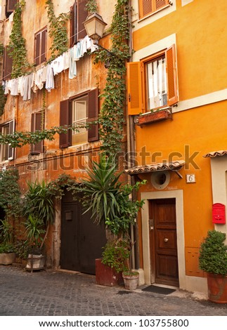 Characteristic street in Italy - stock photo