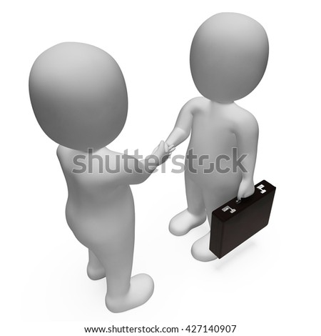 Characters Agreement Representing Business Person And Welcome 3d Rendering