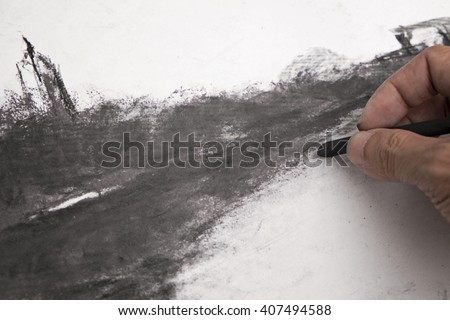 charcoal drawing - stock photo