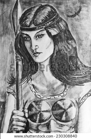 Charcoal drawing on paper. Portrait of a girl soldier with spear - stock photo