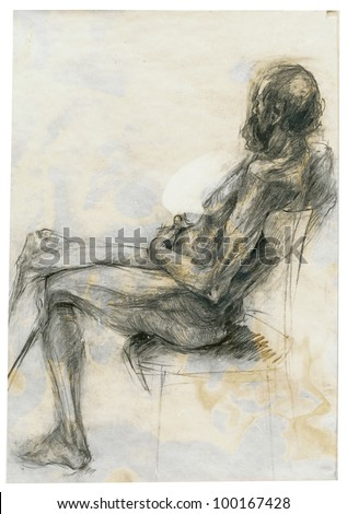 Charcoal drawing - sitting model, naked old man (gender not shown). On the subject of Renaissance masters. - stock photo