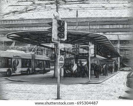 Charcoal Drawing; The Station in Lucerne, Switzerland