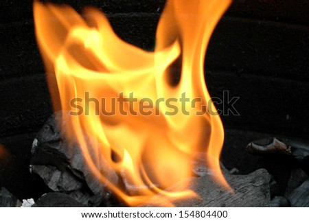 charcoal fire for BBQ - stock photo