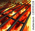 charcoal fire grill, close up with  flames - stock photo