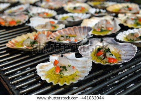 Charcoal-grilled scallop, Italian Cuisine - stock photo