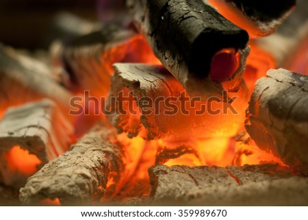 Charcoal in fire - stock photo