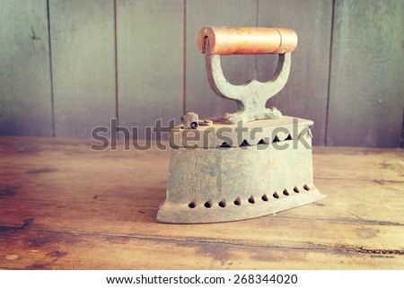 charcoal iron with filter effect retro vintage style - stock photo