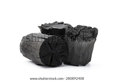 Charcoal isolated on white background - stock photo