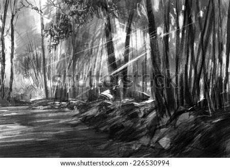Charcoal landscape digital drawing - stock photo