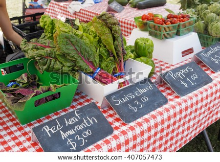 Chard and Kale on display at farmers market