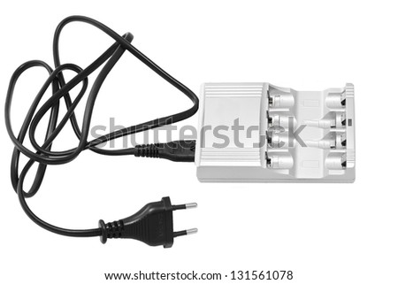 Charge device with black wire isolated on white background - stock photo