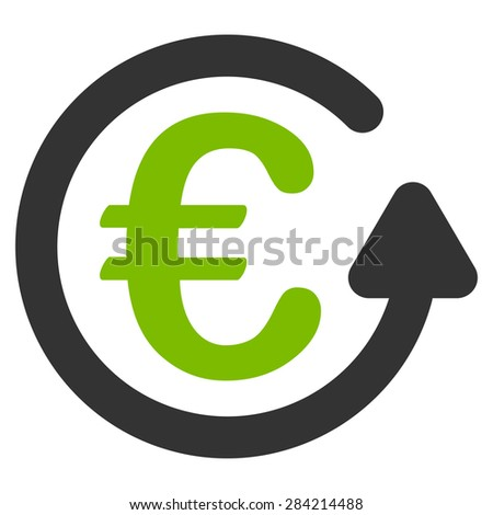 Chargeback from BiColor Euro Banking Icon Set. Glyph style: flat bicolor, eco green and gray symbol, rounded angles, white background. - stock photo