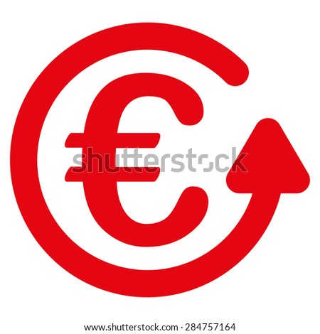 Chargeback from BiColor Euro Banking Icon Set. Glyph style: flat, red symbol, rounded angles, white background. - stock photo