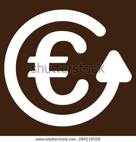 Chargeback from BiColor Euro Banking Icon Set. Glyph style: flat, white symbol, rounded angles, brown background. - stock photo