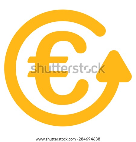 Chargeback from BiColor Euro Banking Icon Set. Glyph style: flat, yellow symbol, rounded angles, white background. - stock photo